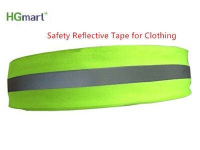 Florescent Reflective Safety Strip Tape Warning Sewing On To Clothes 2''x10ft