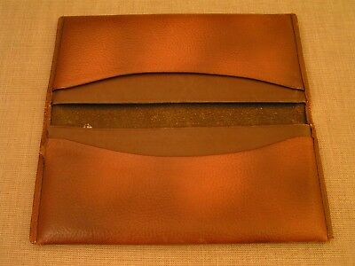 Antique Vintage Leather 4-Pocket Document Holder Envelope Long Wallet Billfold
