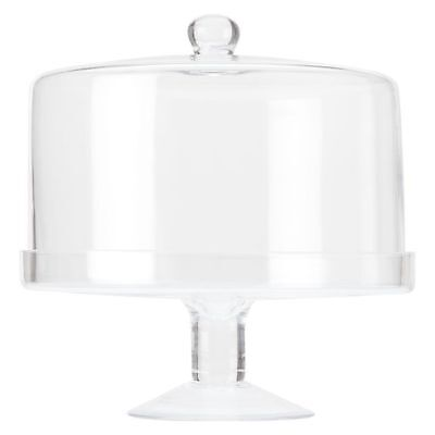 NEW Maxwell & Williams Diamante Glass Straight Cake Stand with Dome, 25cm