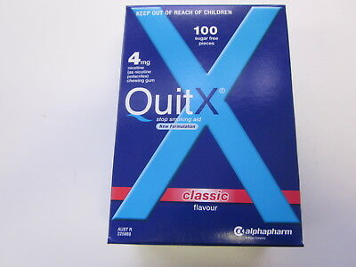 Quitx - Stop Smoking Aid Gum 4Mg - 100 Pieces - Classic - Exp 08/2019