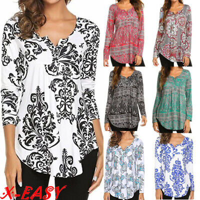 9c141e0813d Plus Size Women V Neck Printed Top Blouse Ladies Long Sleeve Loose Casual  Shirt