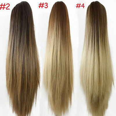 Long Straight Ponytail Ombre claw clip Wrap On Hair Extensions Hairpiece Woman