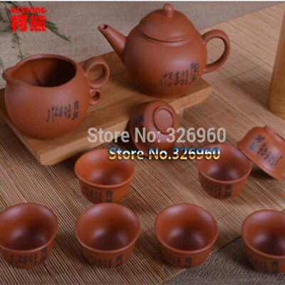 Chinese Tea Set Ceramic Yixing Purple Clay Teapot Tea Cups Handmade Kung Fu Tea