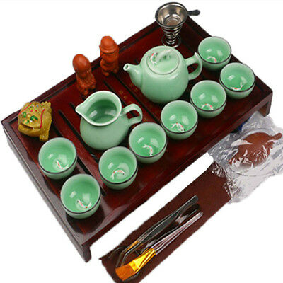Chinese Kung Fu Tea Set Ceramic Tea Pot Cup Tureen Infuser Natural Wood Tea Tray