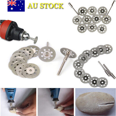 AU 10Pcs Diamond Cutting Wheel Grinding Saw Blade Disc 2PCS Mandrel Rotary Tools
