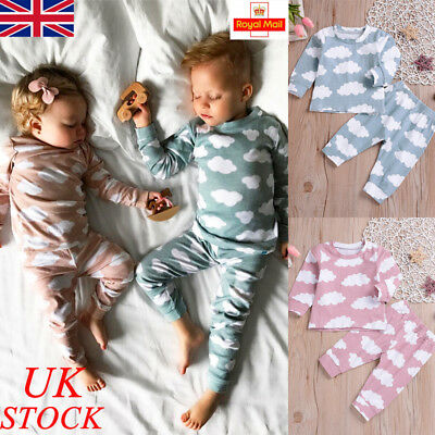 UK Baby Boys Girls Casual Outfits Toddler Newborn Romper Kids Clothes Tops Pants