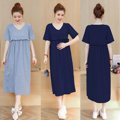 Nursing Breastfeeding Dress Maternity Mid-calf Ruffles Cotton Cute 8 10 12 14 16