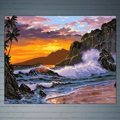 Seaside View DIY Digital Oil Painting Paint By Number Canvas Home Wall Decor