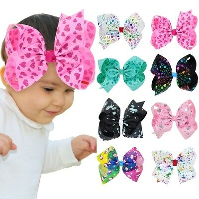 Baby Girls 8 Inch Large Unicorn Hair Bows Grosgrain Headwear Ribbon Knot Clips