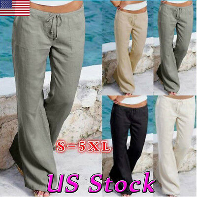 95b83680d5d Women s Cotton Loose Harem Baggy Long Pants Summer Pocket Casual Comfy  Trousers