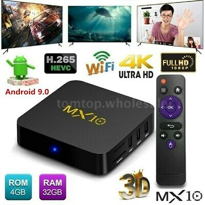 MX10 Android 9.0 Smart TV BOX 4G+32G Quad Core RK3328 h.265 WiFi 4K Media Player