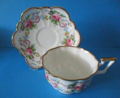 salisbury bone china cup saucer small pink roses excellent condition