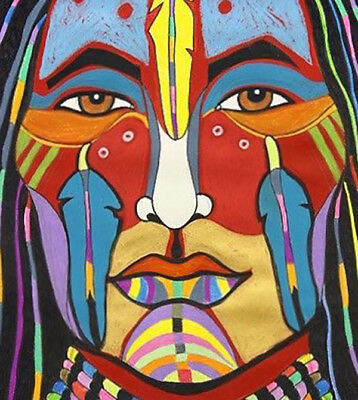 """5"""" Color Native American Face Paint Ceremony Heritage Tribal Art Bumper Sticker"""