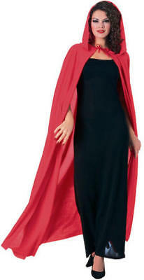 Red Long Hooded Cape Fancy Dress Vampire Fairytale Halloween Ladies Robe Costume