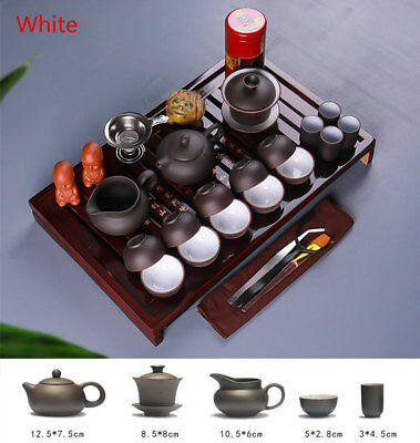 Chinese Tea Set Purple Clay Ceramic Teapot Ice-Crack Cup Tureen Infuser Tea Tray