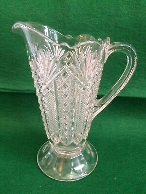 "Antique Pedestal  Pattern Clear Glass Pitcher  8 1/2 "" Tall"
