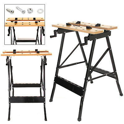 Foldable Workbench Portable Wood Bench Work Clamping Folding Worktop Table Uk