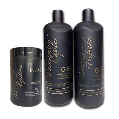 G HAIR MOROCCAN INOAR MACADAMIA KERATIN TREATMENT KIT 3 PCS . 1000ml 34 oz