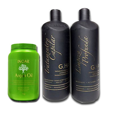 INOAR ARGAN G HAIR MOROCCAN KERATIN KIT 3 PCS . 1000ml 34 oz