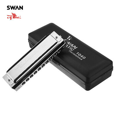 SWAN 10 Holes Key of C 40 Tones Harmonica Mouth Organ Musical Instrument Gift