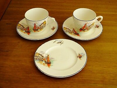 Vintage Myott Fishing Boat Cups , Saucers & Plate X 5