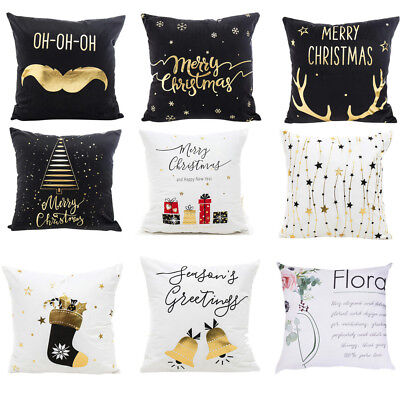 Merry Christmas Gold Foil Printing Pillow Case Sofa Waist Throw Cushion Cover