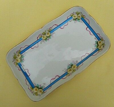 Vintage Continental porcelain / china sandwich / cake tray - blue, pink, flowers