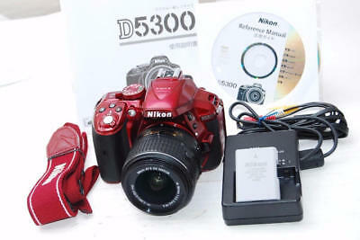 NIKON D5300 Red 18-55mm VR II 2-inch Wi-Fi support from japan (4175