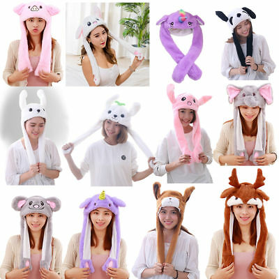 Funny Plush Animal rabbit ear Hat bunny Cap with Airbag Jumping Ear Movable Gift
