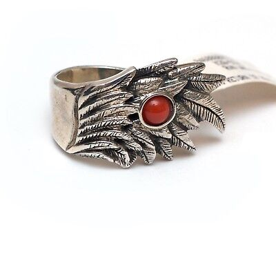 New KING BABY STUDIO Men's Sterling Silver Raven Wing Statement Ring Size 9