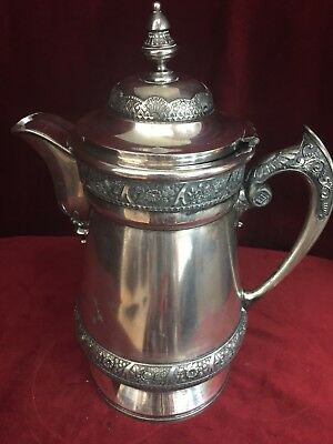 Antique Aesthetic WILCOX Silver Plate Porcelain Lined Butler Water Pitcher # 346