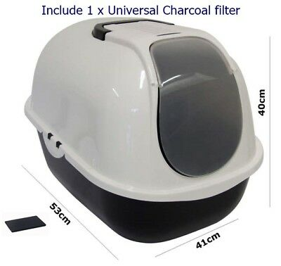 4-Pets Cat Flip Litter Tray Dark Grey & White Box Hooded Toilet Charcoal Filter