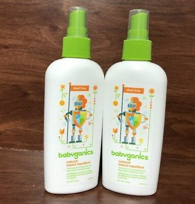 New 2 Bottles Babyganics Natural Insect Bug Repellent 6 Fl Oz Exp.01/19