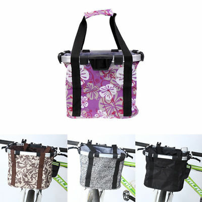 Foldable Basket Front Bicycle Cycling Carrier Handle Bag Quick Release Shopping