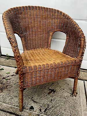 Vintage Mid-Century Tropical Tiki Natural Woven Wicker & Bamboo Rattan Arm Chair