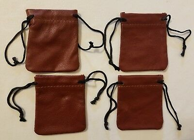 """4 Brown Genuine Leather Small 3"""" Drawstring Pouch Bag Jewelry Coin Renaissance"""
