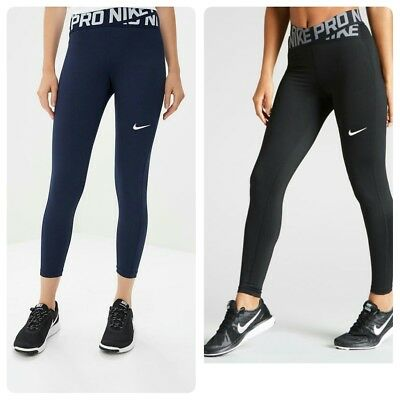 ed8a333aa7 Nike pro intertwist women's tights high rise long /crop7/8 black/ blue L