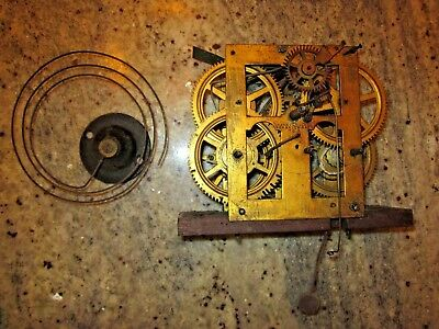 antique weight driven clock movement & coil gong lot #105