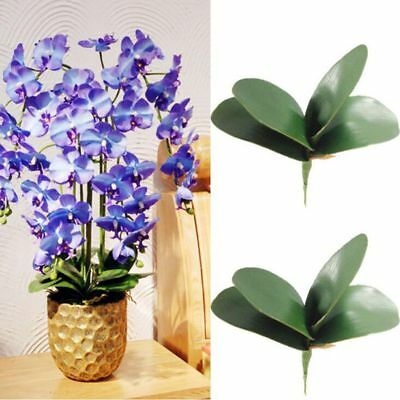 Decor Fake Flowers PU Silk Leaf Green Leaves Butterfly Orchid Leaf Artificial