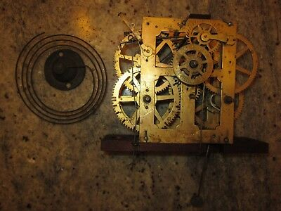 antique weight driven alarm clock movement & coil gong lot #106