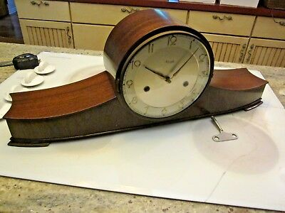 BIG antique Kienzel Art Deco mante clock Westminster chimes