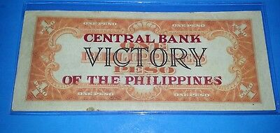 Phillipines 1949 One Peso Victory Note ! Central Bank Of The Philippines !