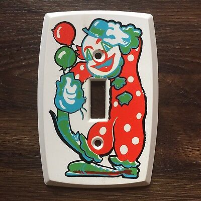 Vintage 80s Plastic Colourful Clown Light Cover Switch Plate Made Canada