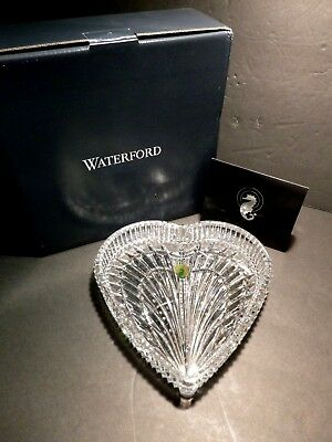 """*NEW* Waterford Crystal HERITAGE Large Heart Tray 7 1/2"""" New in Box"""