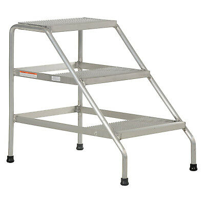 Step Stand, 3 Step, Welded, Aluminum, Lot of 1