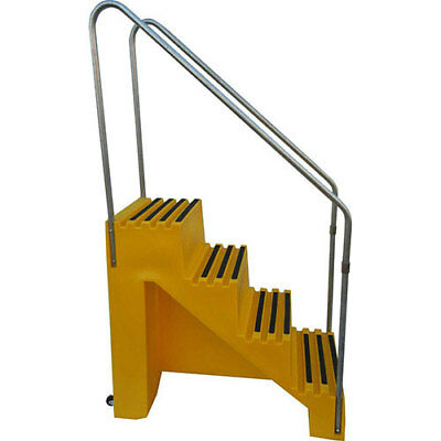 """4 Step Plastic Step Stand, 22""""W x 43""""D x 39""""H, Yellow, Lot of 1"""