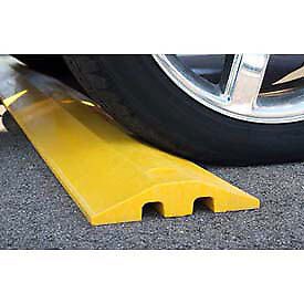 Plastics-R-Unique 21072SBY Yellow Speed Bump with Cable Protection & Hardware -