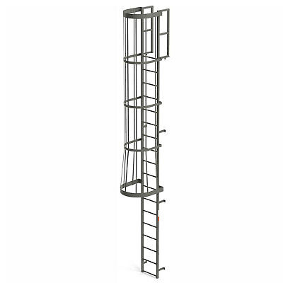 EGA FC18 Steel Fixed Cage Ladder, 18 Step, Gray, Lot of 1