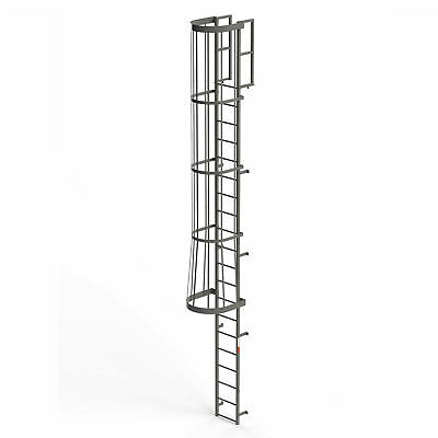 EGA FC20 Steel Fixed Cage Ladder, 20 Step, Gray, Lot of 1