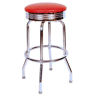 """Retro Chrome Swivel Bar Stool with Red Seat, 30""""H, Lot of 1"""
